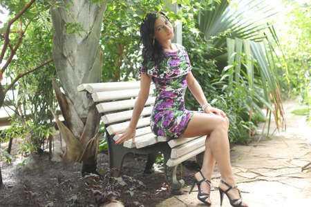 enchanting: Portrait of beautiful woman in the garden
