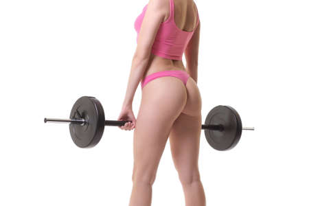 image of a young sexy woman with barbell