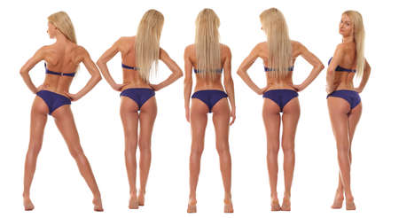 Full length portrait of young girls wearing blue bikini