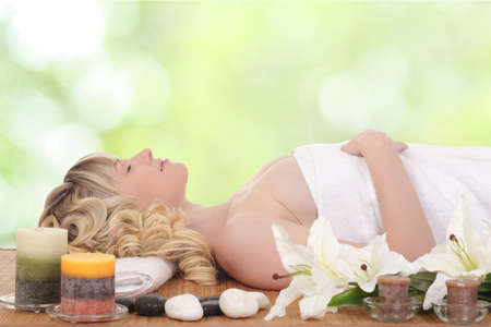 young healthy woman rests in spa