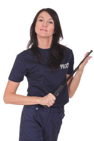 young police woman on white background Stock Photo