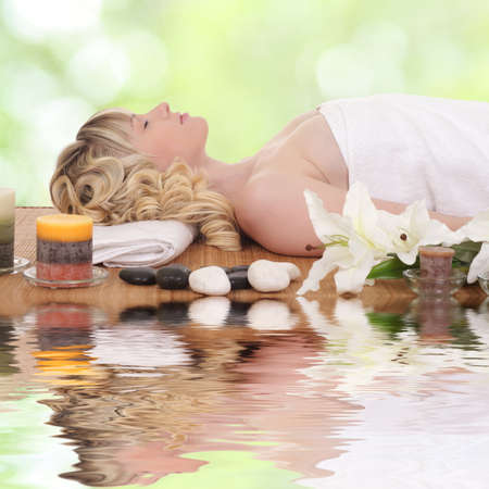 young beauty healthy woman relax in spa Stock Photo