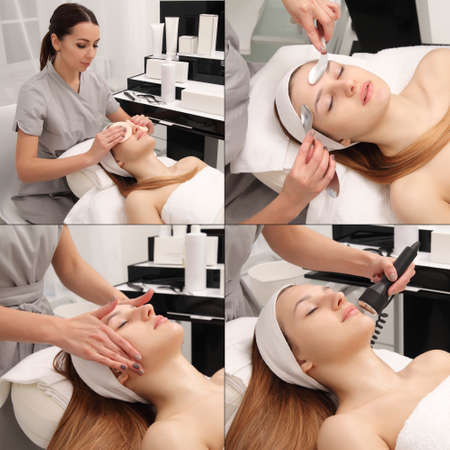 skin care procedures with a young girl 版權商用圖片