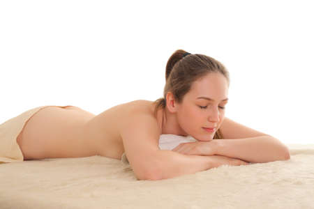 young beauty healthy girl relaxing in spa