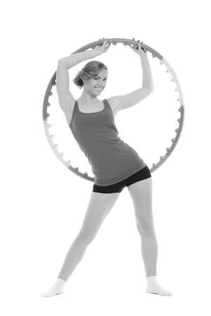Woman holding  hoop -  Hoop Exercises