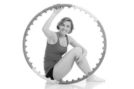 Woman holding  hoop Imagens