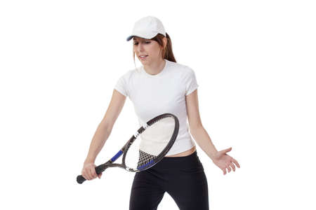 young smiling tennis player on white background 版權商用圖片
