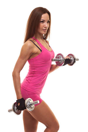 Woman with dumbbell fit slim abs body Stockfoto