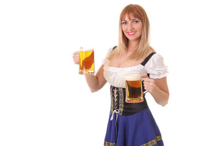 young girl with a mug of fresh light beer