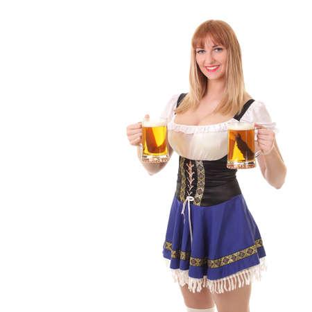 young girl with a mug of fresh light beer