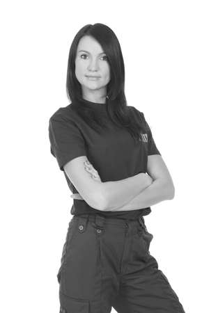 young police woman on a white background