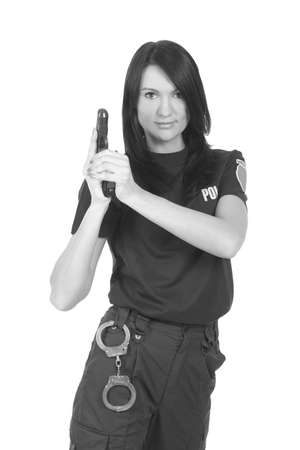 young police girl with gun on a white background