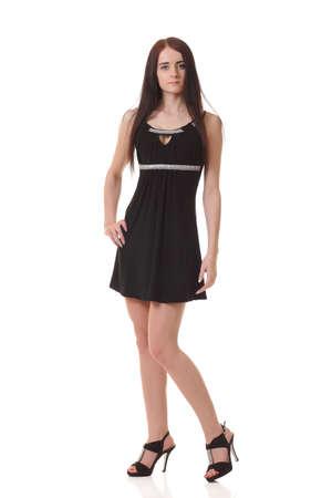 Niña joven, en, pequeño, negro, vestido