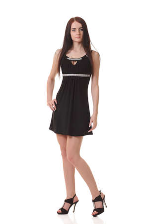 Young girl in black little dress