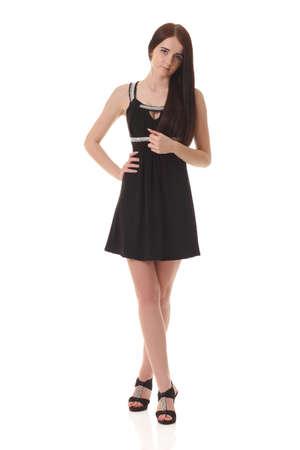 Young sexy girl in black little dress Reklamní fotografie