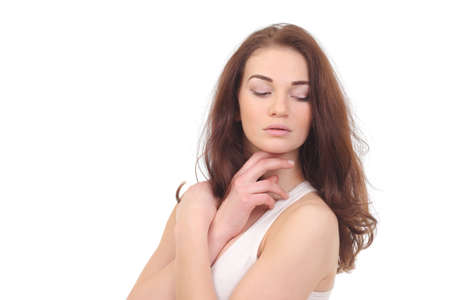 Beautiful natural woman in white shirt on white Foto de archivo - 133742331