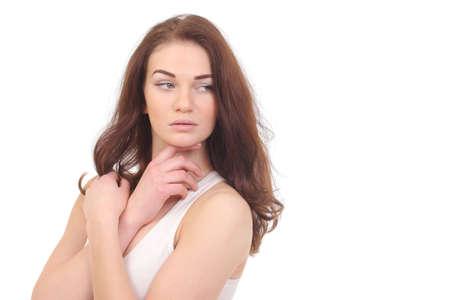 Beautiful natural woman in white shirt on white Foto de archivo - 133742346