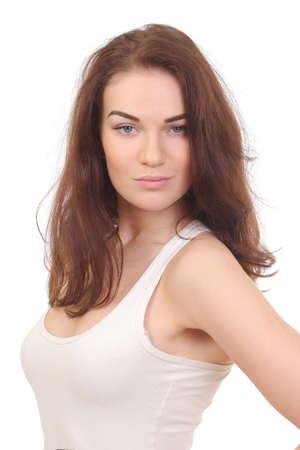 Beautiful natural woman in white shirt on white Foto de archivo - 133742349