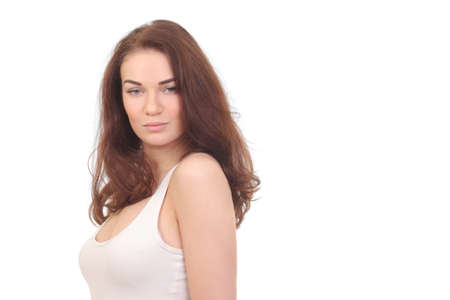 Beautiful natural woman in white shirt on white