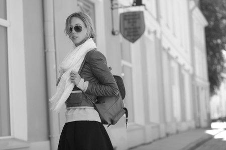fashion portrait of young beautiful fashionable woman