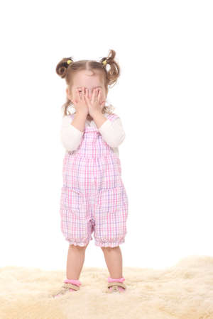 little girl child on a white background