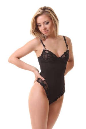 sexy girl in black underwear on white backgroun Foto de archivo