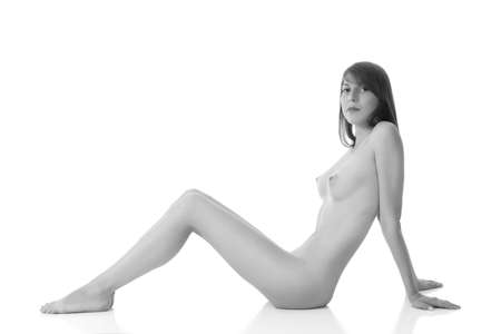 young sexy naked girl on white background Kho ảnh