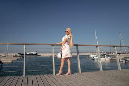 happy woman in summer dress.