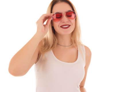 Young pretty woman, sunglasses, studio Banco de Imagens