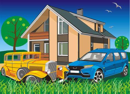 Countryside - car near the cottage. Vector illustration