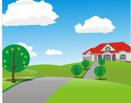 the landscape in the vector to the path leading to the house Ilustração