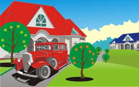 carport: Countryside - car near the cottage. Vector illustration