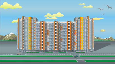 Multi-storey modern house. The modern architecture. Landscape. High rise mountains in the