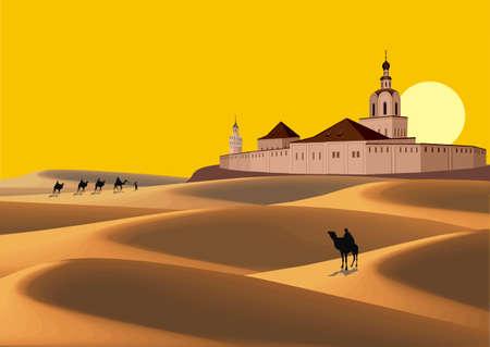 풍경 - 사막에서 캐 러 밴 오래 된 요새로 이동합니다. 삽화 스톡 콘텐츠 - 60558381