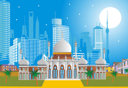 sheik: Arabic Palace on the background of the modern city.illustration