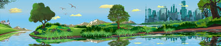 metropolis: Panoramic landscape - metropolis, lake, river. The town on the island.The island in the lake. The trees and shrubs. Vector illustration Illustration