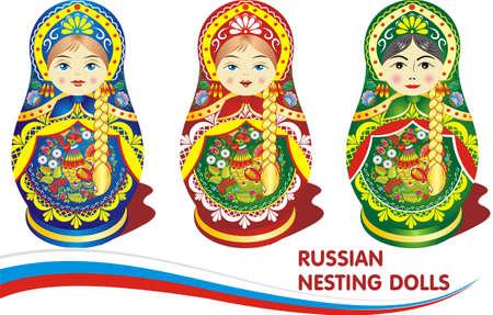 ロシアの入れ子人形。透明な背景のベクトル図