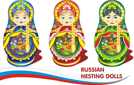 Russian nesting dolls. Vector illustration on a transparent background