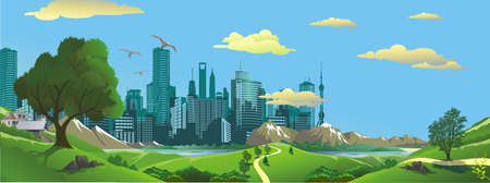 panorama view: Panorama. Landscape - the view from the hill to the modern city. Vector illustration