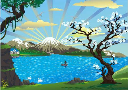 fleurs paysage cerise au-dessus du lac Vecteurs
