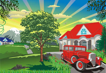 automobile door: landscape - a retro car outdoors. Illustration