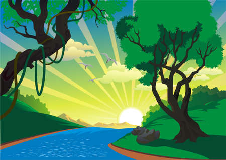Landscape - the river in the vector Illustration