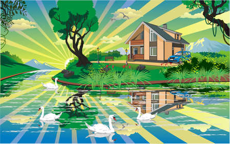 tranquil scene on urban scene: Landscape - country house near the river with swans in vector Illustration