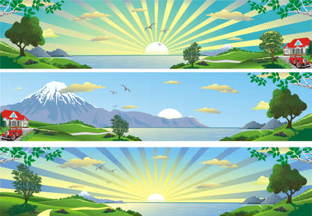 A set of panoramic landscapes. Panorama of nature. Mountains, sea, trees and hills. Vector illustration Illustration