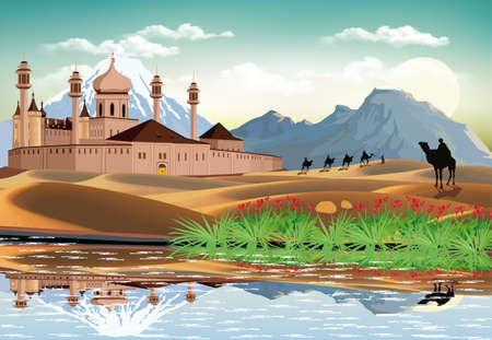 East fortress in the sand dunes. The high mountains on the coast. Camel caravan in the desert. Realistic vector illustration.