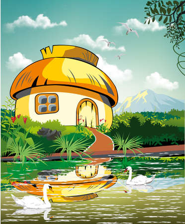 Landscape-hut at the pond with swans. Vector illustration