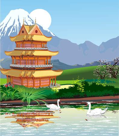 Landscapes - Japanese pagoda at mount Fuji.
