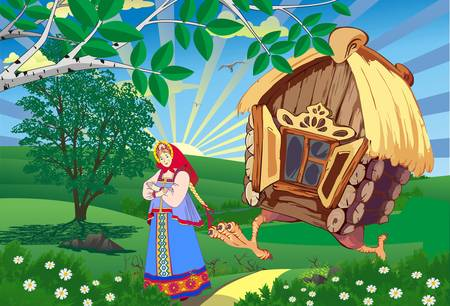 Fairy landscape-the Princess and the hut on chicken legs.