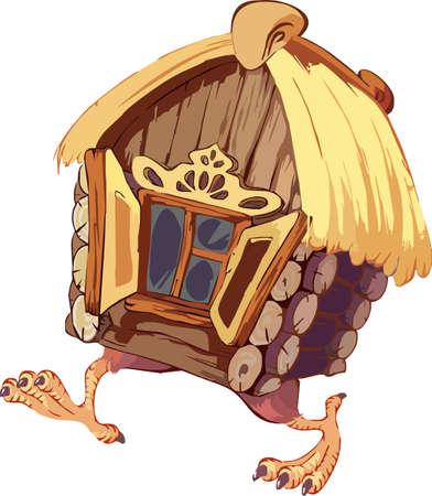 Fairy landscape - hut on chicken legs. Vector