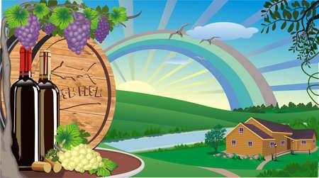 Paisaje rural con vino y uvas y barril de vino de madera.